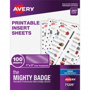 Avery Mighty Badge System Inkjet Clear Name Tags 71209 AVE71209