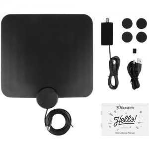 Aluratek Indoor HD Digital TV Antenna with Amplifier Signal Booster ATVA200F