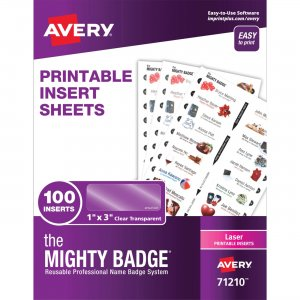 Avery Mighty Badge Laser Clear Name Tags System 71210 AVE71210