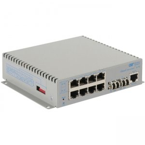 Omnitron Systems OmniConverter G/M, 2xSM LC + 8xRJ-45, AC Powered Extended Temp 2827-1-28-1Z