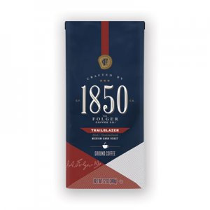 1850 Coffee, Trailblazer, Dark Roast, Ground, 12 oz Bag FOL60515EA 60515EA