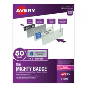 Avery The Mighty Badge Name Badge Holder Kit, Horizontal, 3 x 1, Laser, Silver, 50 Holders/120 Inserts AVE71208 71208
