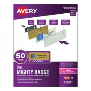 Avery The Mighty Badge, Horizontal, 1 x 3, Laser, Gold, 50 Holders/120 Inserts AVE71207 7771171207