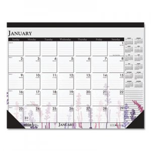 House of Doolittle 100% Recycled Contempo Desk Pad Calendar, 18 1/2 x 13, Wild Flowers, 2020 HOD1976 1976