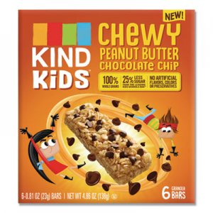 KIND Kids Bars, Chewy Peanut Butter Chocolate Chip, 0.81 oz, 6/Pack KND25988 25988