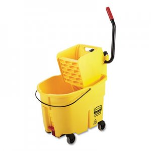 Rubbermaid Commercial WaveBrake 2.0 Bucket/Wringer Combos, 8.75 gal, Side Press with Drain, Yellow RCP2031764 2031764