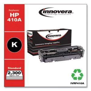 Innovera Remanufactured Black Toner Cartridge, Replacement for HP 410A (CF410A), 2,300 Page-Yield IVRF410A