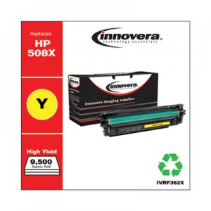 Innovera Remanufactured Yellow High-Yield Toner Cartridge, Replacement for HP 508X (CF362X), 9,500 Page-Yield IVRF362X
