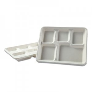 "Boardwalk Bagasse Molded Fiber Dinnerware, 5-Compartment Tray, 8"" x 12"", White, 500/Carton BWKTRAYWF128"