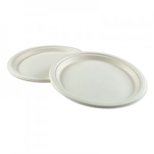 "Boardwalk Bagasse Molded Fiber Dinnerware, Plate, 10"" Diameter, White, 500/Carton BWKPLATEWF10 PL-10BW"