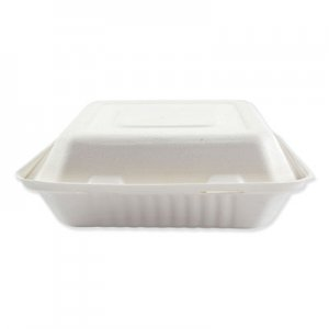 Boardwalk Bagasse Molded Fiber Food Containers, Hinged-Lid, 3-Compartment 9 x 9, White, 100/Sleeve, 2 Sleeves/Carton BWKHINGEWF3CM9