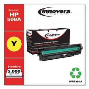 Innovera Remanufactured Yellow Toner Cartridge, Replacement for HP 508A (CF362A), 5,000 Page-Yield IVRF362A IVR508AY