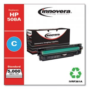 Innovera Remanufactured Cyan Toner Cartridge, Replacement for HP 508A (CF361A), 5,000 Page-Yield IVRF361A IVR508AC