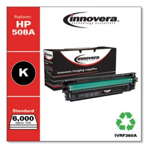 Innovera Remanufactured Black Toner Cartridge, Replacement for HP 508A (CF360A), 6,000 Page-Yield IVRF360A IVR508AB