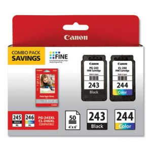 Canon (CL-244; PG-243BK) Ink Combo Pack, 50 Sheets of 4 x 6 Photo Paper Glossy, Black/Color CNM1287C005