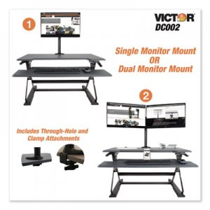 Victor Monitor Mount with Single and Dual Arm Components, 27.5w x 3d x 16.5h, Black VCTDC002 DC002
