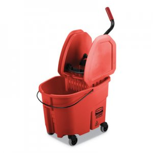 Rubbermaid Commercial WaveBrake 2.0 Bucket/Wringer Combos, 35 qt, Down Press, Plastic, Red RCPFG757888RED FG757888RED