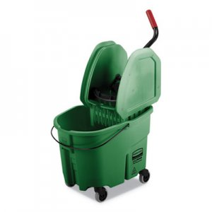 Rubbermaid Commercial WaveBrake 2.0 Bucket/Wringer Combos, 35 qt, Down Press, Plastic, Green RCPFG757888GRN FG757888GRN