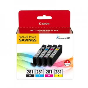 Canon (CLI-281) Ink, Black/Cyan/Magenta/Yellow CNM2091C005 2091C005