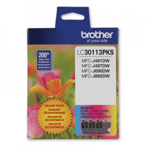 Brother LC3011 Ink, 200 Page-Yield, Cyan/Magenta/Yellow, 3/Pack BRTLC30113PKS LC30113PKS