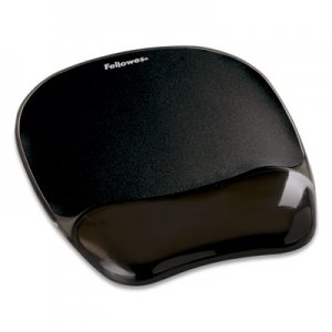"Fellowes Gel Crystals Mouse Pad with Wrist Rest, 7.87"" x 9.18"", Black FEL9112101 9112101"