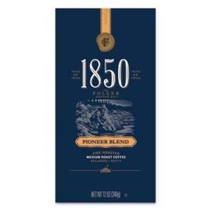 1850 Coffee, Pioneer Blend, Medium Roast, Whole Bean, 12 oz Bag, 6/Carton FOL60517 2550060517