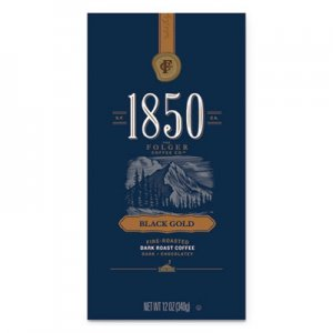 1850 Coffee, Black Gold, Dark Roast, Whole Bean, 12 oz Bag, 6/Carton FOL60518 2550060518