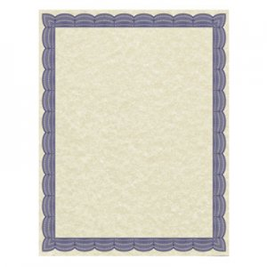 Southworth Parchment Certificates, Traditional, 8 1/2 x 11, Ivory w/ Blue Border, 50/Pack SOU91342 91342