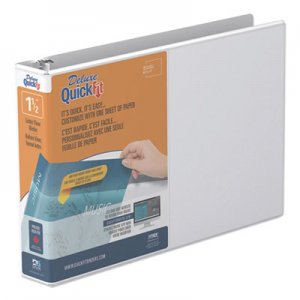 "Stride QuickFit Landscape Spreadsheet Round Ring View Binder, 3 Rings, 1.5"" Capacity, 11 x 8.5, White STW97120 97120"
