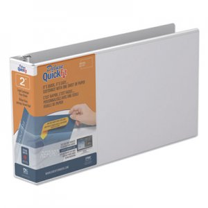 """Stride QuickFit Landscape Spreadsheet Round Ring View Binder, 3 Rings, 2"""" Capacity, 14 x 8.5, White STW95030L 95030L"""
