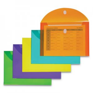 C-Line Reusable Poly Envelope, Hook & Loop Closure, 8.5 x 11, Assorted, 10/Pack CLI58030 58030
