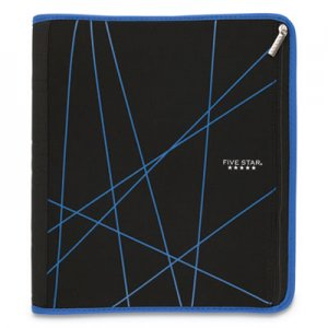 "Five Star Xpanz Zipper Binder, 3 Rings, 2"" Capacity, 11 x 8.5, Black/Blue MEA73232 73232"