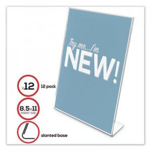 "deflecto Classic Image Slanted Sign Holder, 8 1/2"" x 11"", Clear Frame, 12/Pack DEF69701VP 69701-VP"