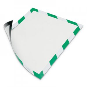 "Durable DURAFRAME Security Magnetic Sign Holder, 8 1/2"" x 11"", Green/White Frame, 2/Pack DBL4772131 4772131"