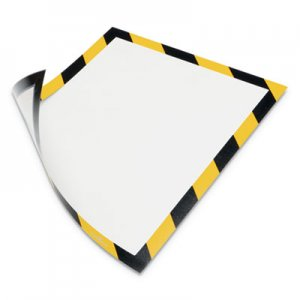 Durable DURAFRAME Security Magnetic Sign Holder, 8 1/2 x 11, Yellow/Black Frame, 2/Pack DBL4772130 4772130