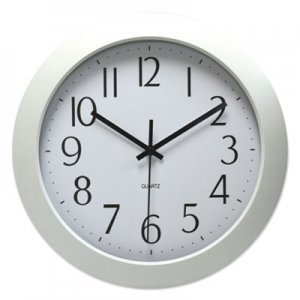 "Genpak Whisper Quiet Clock, 12"" Overall Diameter, White Case, 1 AA (sold separately) UNV10461"