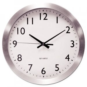 "Genpak Brushed Aluminum Wall Clock, 12"" Overall Diameter, Silver Case, 1 AA (sold separately) UNV10425"