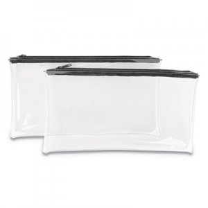 Genpak Zippered Wallets/Cases, 11w x 6h, Clear/Black, 2/PK UNV69026