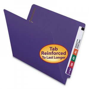 Smead Heavyweight Colored End Tab Folders with Two Fasteners, Straight Tab, Letter Size, Purple, 50/Box SMD25440 25440