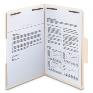 Smead SuperTab Reinforced Guide Height 2-Fastener Folders, 1/3-Cut Tabs, Legal Size, 14 pt. Manila, 50/Box SMD19545
