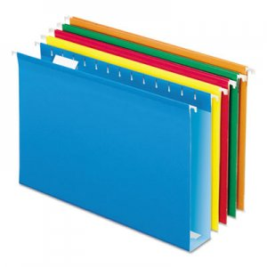 Pendaflex Extra Capacity Reinforced Hanging File Folders with Box Bottom, Legal Size, 1/5-Cut Tab, Assorted, 25/Box PFX5143X2ASST