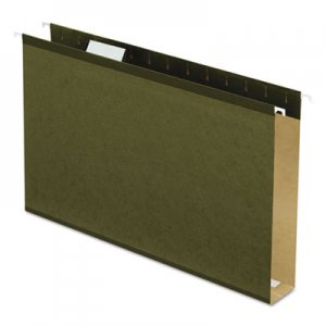 Pendaflex Extra Capacity Reinforced Hanging File Folders with Box Bottom, Legal Size, 1/5-Cut Tab, Standard Green, 25/Box