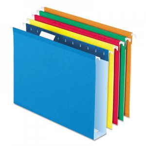 Pendaflex Extra Capacity Reinforced Hanging File Folders with Box Bottom, Letter Size, 1/5-Cut Tab, Assorted, 25/Box PFX5142X2ASST