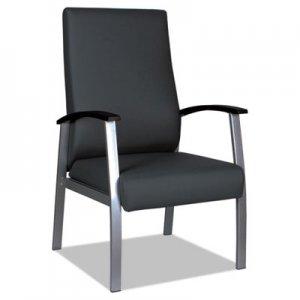 """Alera Alera metaLounge Series High-Back Guest Chair, 25"""" x 26.37"""" x 43.7"""", Black Seat/Black Back, Silver"""