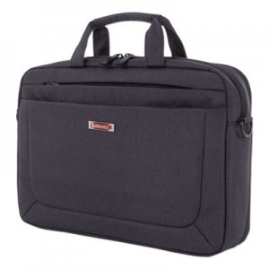 "Swiss Mobility Cadence 2 Section Briefcase, Holds Laptops 15.6"", 4.5"" x 4.5"" x 16"", Charcoal SWZEXB1009SMCH EXB1009SMCH"