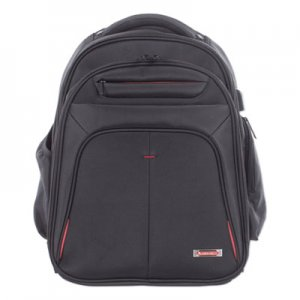 "Swiss Mobility Purpose 2 Section Business Backpack, Laptops 15.6"", 8.5"" x 8.5"" x 19.5"", Black SWZBKP1000SMBK"