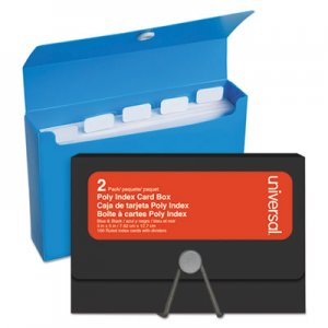 "Genpak Poly Index Card Box, Plastic, Black/Blue, 3"" x 1.33"" x 5"", 2/Pack UNV47304"