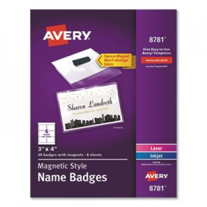 "Avery Magnetic Style Name Badge Kit, Horizontal, 4"" x 3"", White, 48/Pack AVE8781 08781"