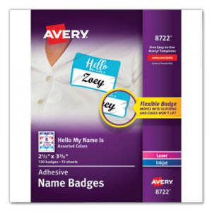 "Avery Flexible Adhesive Name Badge Labels, ""Hello"", 3 3/8 x 2 1/3, Assorted, 120/PK AVE8722 08722"