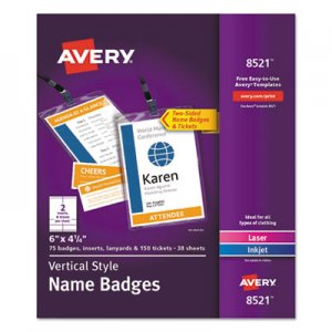Avery Lanyard-Style Badge Holder w/Laser/Inkjet Inserts, Top Load, 4.25 x 6, WE, 75/PK AVE8521 08521